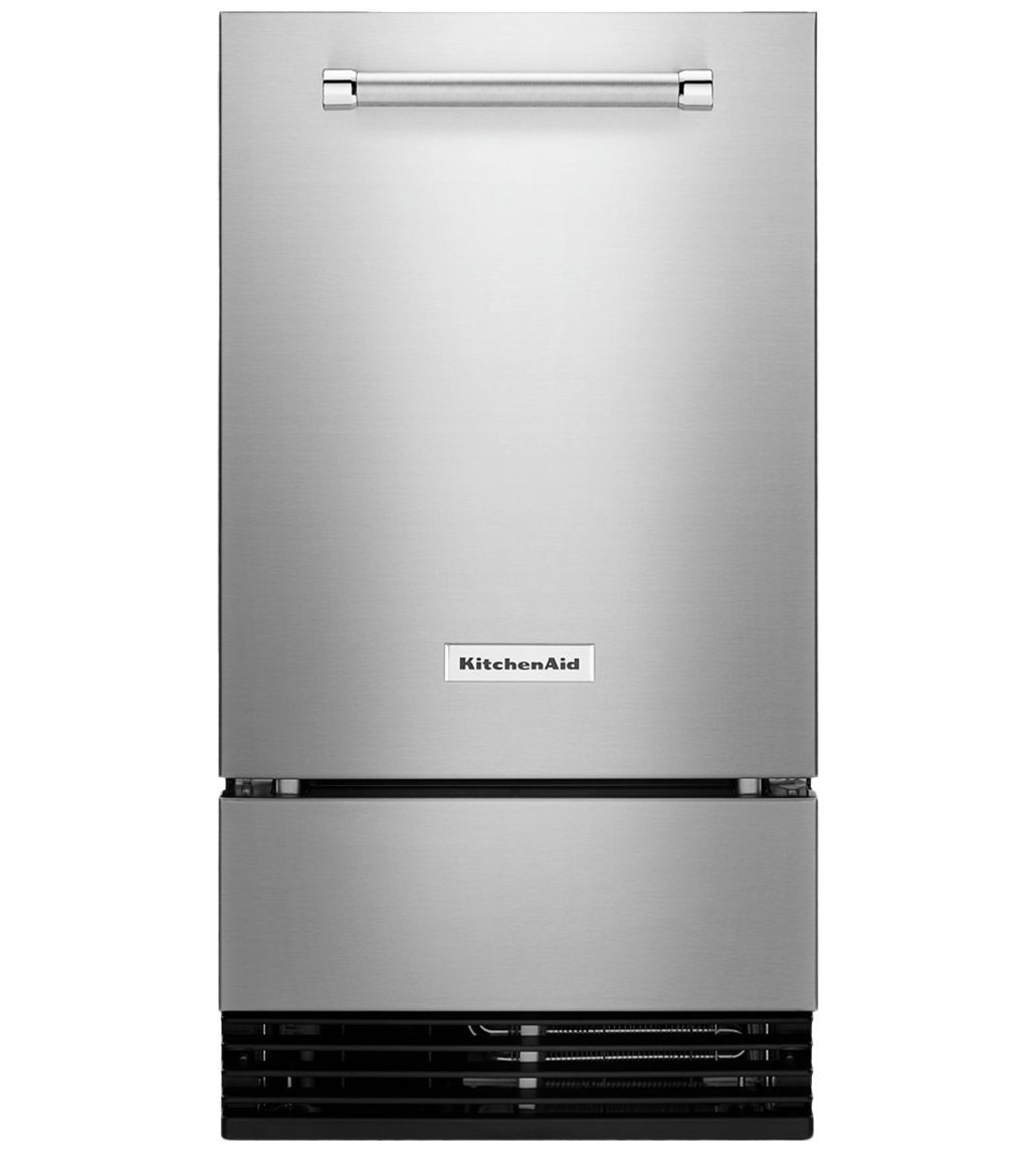 Kitchen Aid icemaker in Stainless Steel color showcased by Corbeil Electro Store