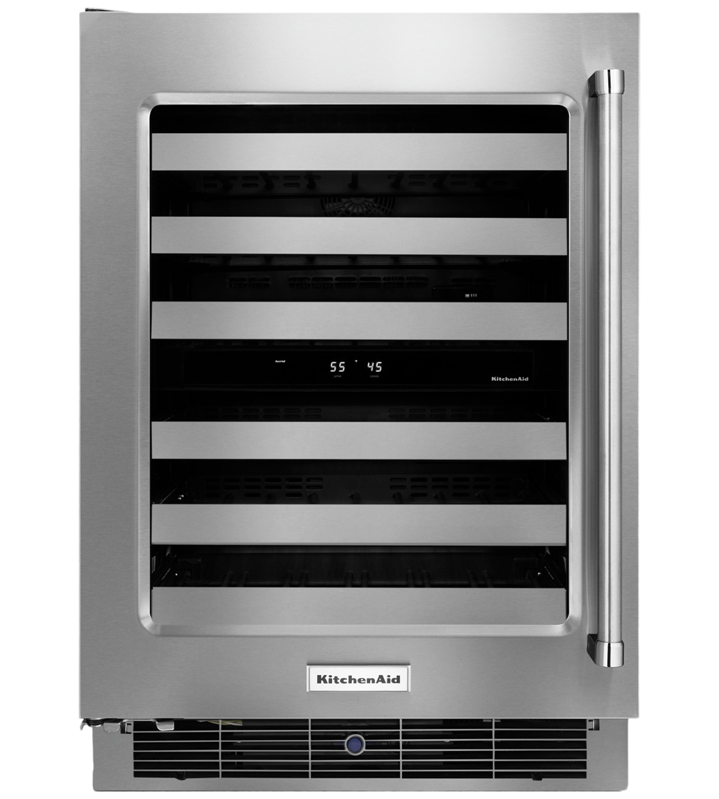 Kitchen Aid wine cellar in Stainless Steel color showcased by Corbeil Electro Store