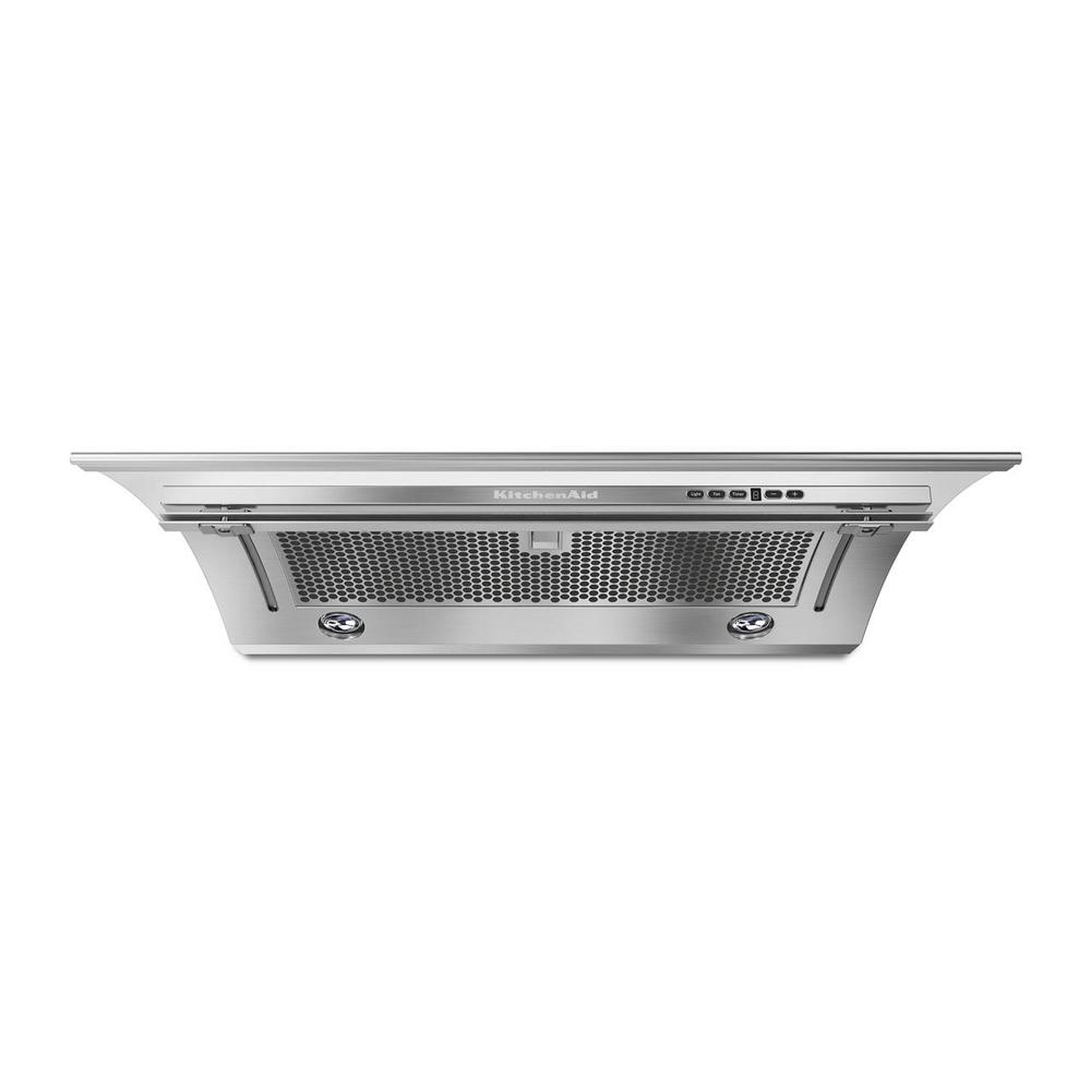 KitchenAid Range hood KXU2836JSS in Stainless Steel color showcased by Corbeil Electro Store