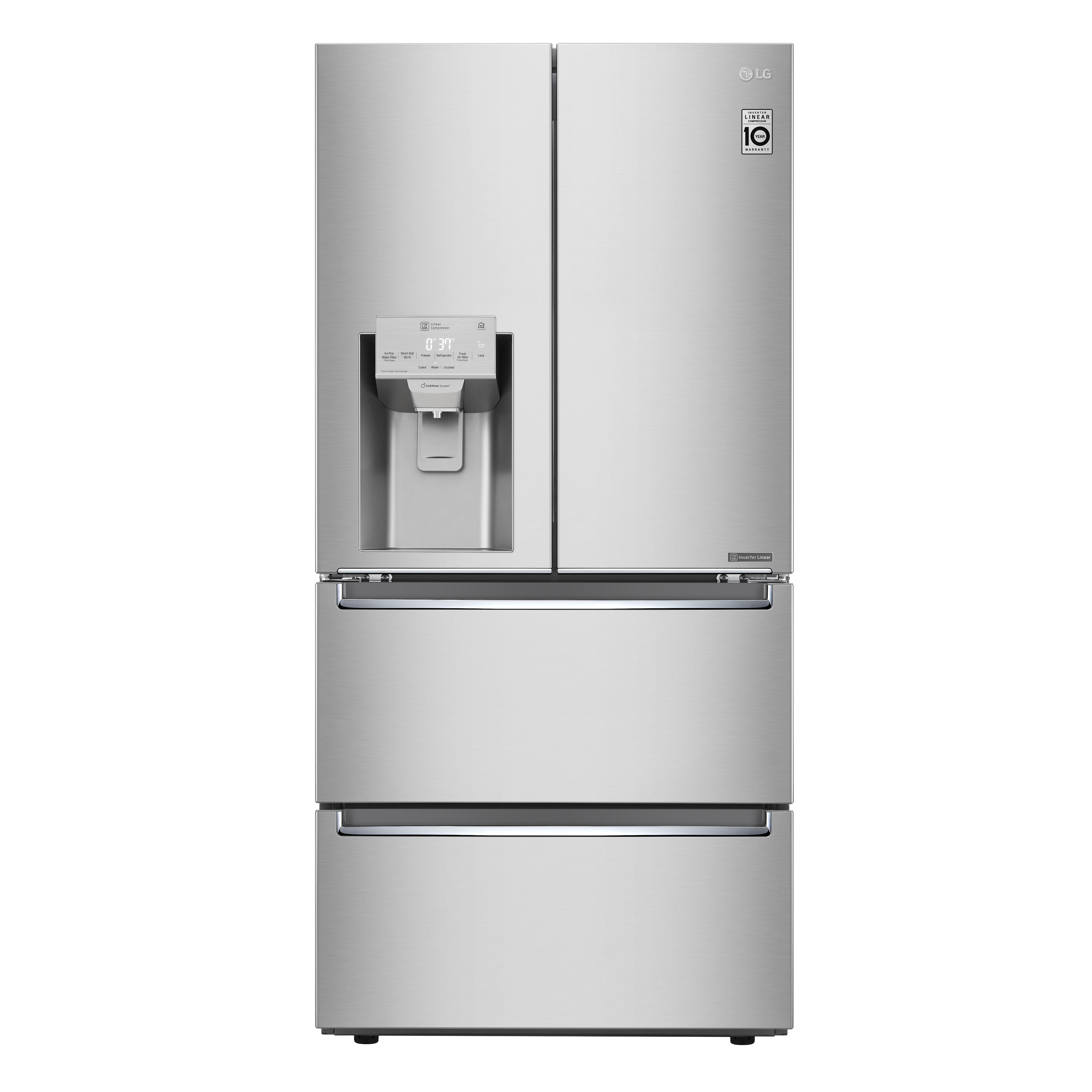 LG Refrigerator in Stainless Steel color showcased by Corbeil Electro Store