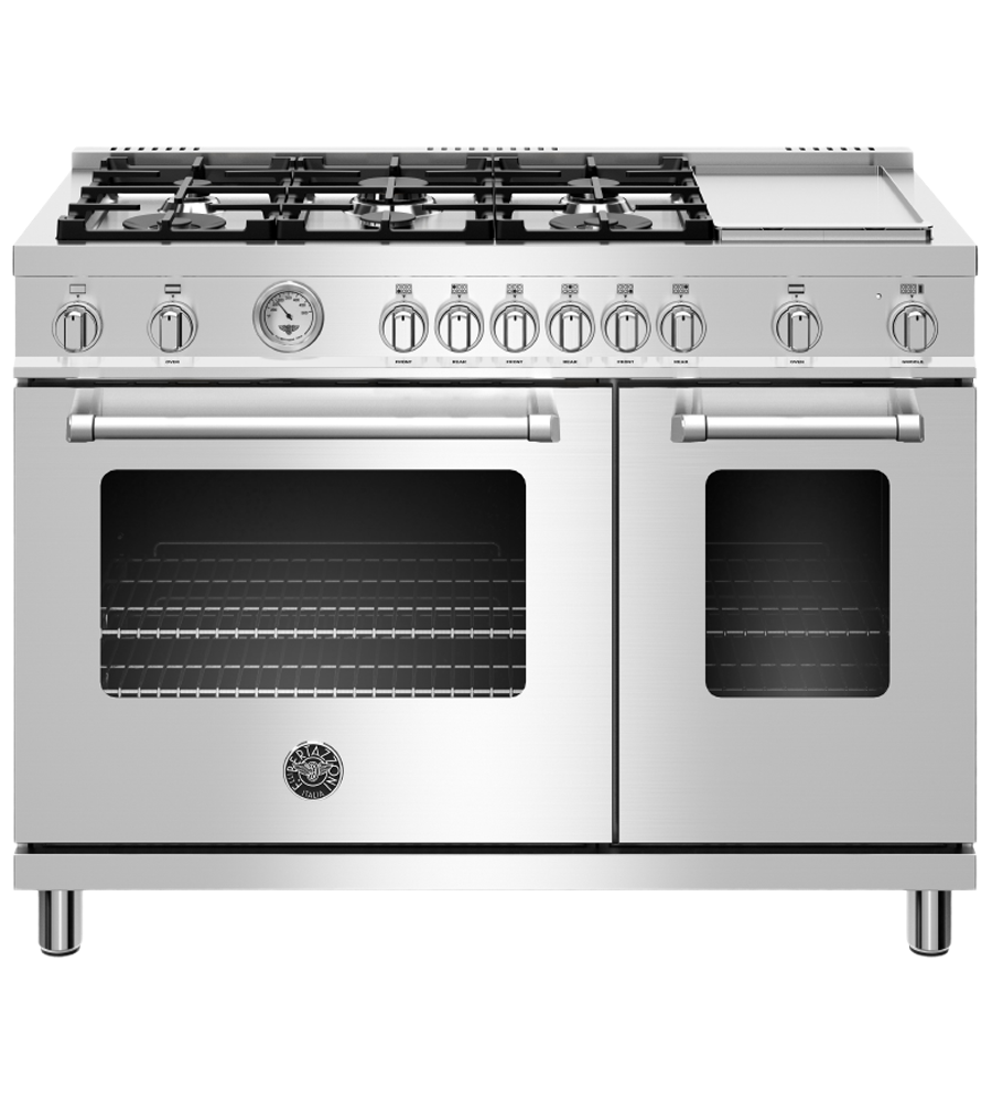 Bertazzoni Range 48inch in Stainless Steel color showcased by Corbeil Electro Store