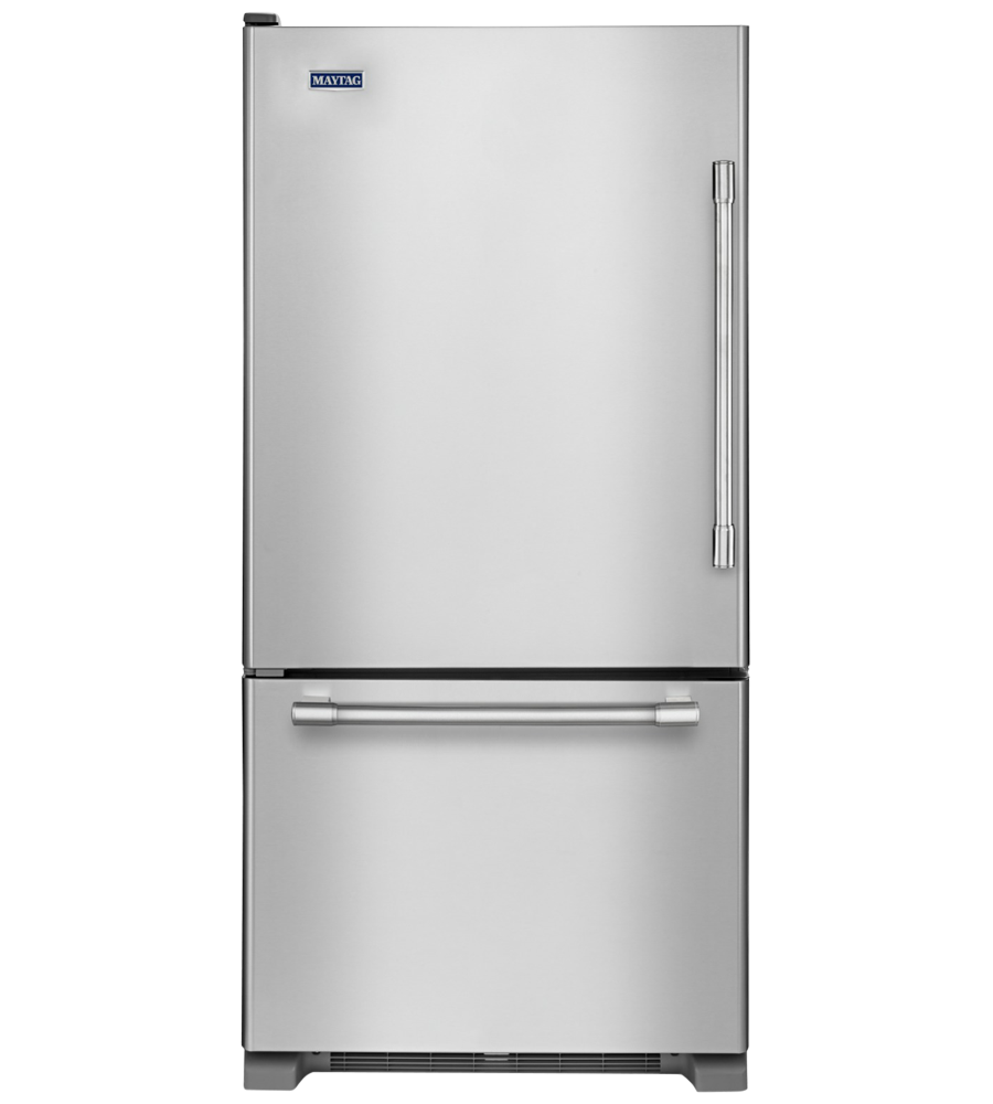 Maytag Refrigerator 30 StainlessSteel MBL1957FEZ in Stainless Steel color showcased by Corbeil Electro Store