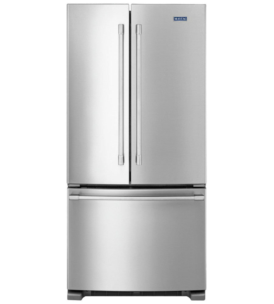 Maytag Refrigerator 33 Stainless Steel in Stainless Steel color showcased by Corbeil Electro Store