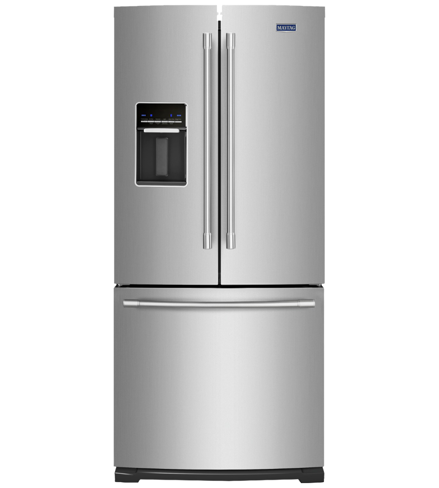 Maytag Refrigerator 30 StainlessSteel MFW2055FRZ in Stainless Steel color showcased by Corbeil Electro Store