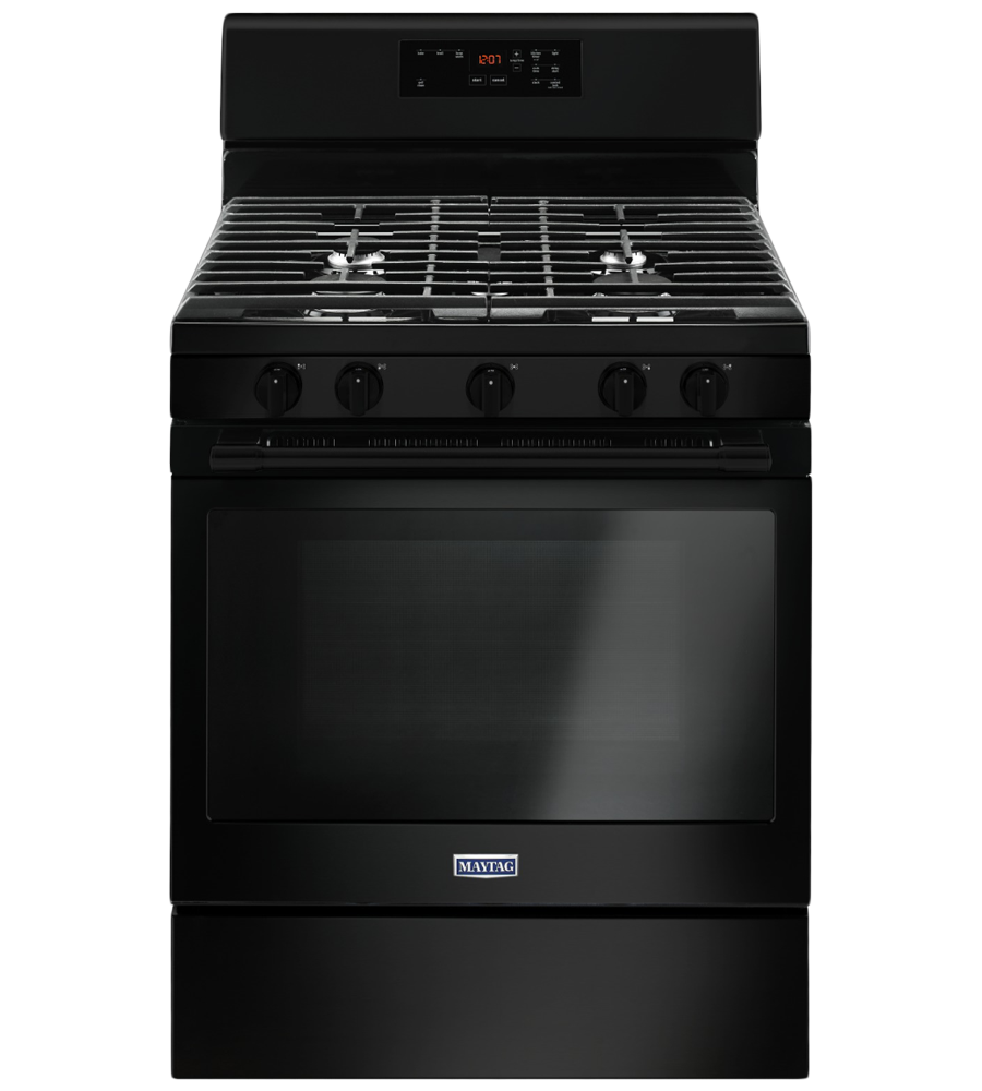 Maytag Range in Black color showcased by Corbeil Electro Store