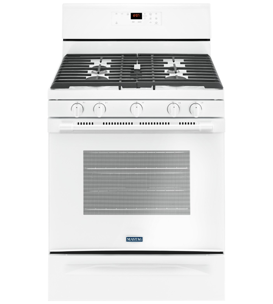 Maytag Range in White color showcased by Corbeil Electro Store