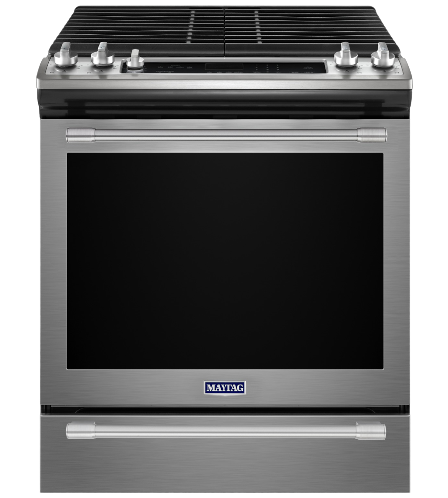 Maytag Range 30 StainlessSteel MGS8800FZ in Stainless Steel color showcased by Corbeil Electro Store