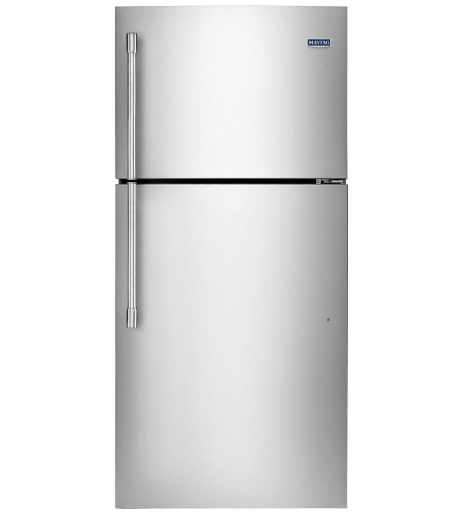 Maytag Refrigerator in Stainless Steel color showcased by Corbeil Electro Store