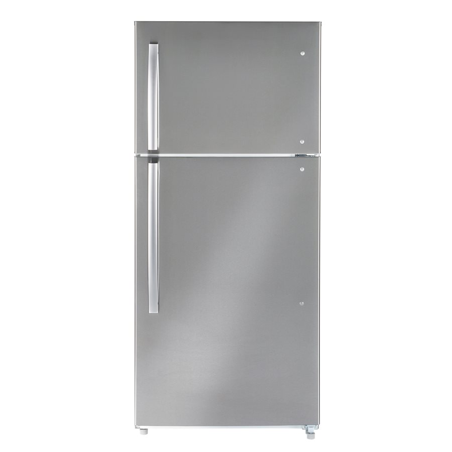 Moffat Fridge MTE18GSKSS in Stainless Steel color showcased by Corbeil Electro Store