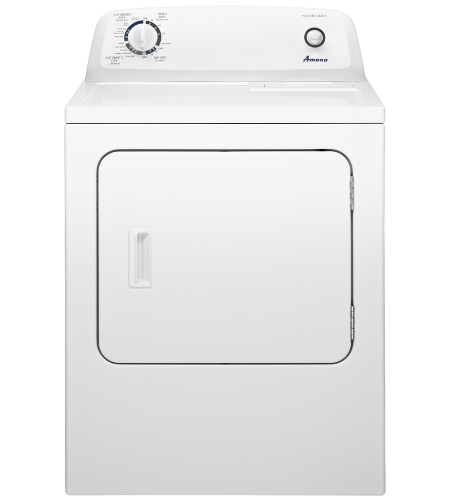 Amana Dryer 29 White NGD4655EW in White color showcased by Corbeil Electro Store