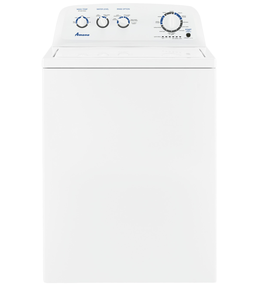 Amana Washer 30 White NTW4519JW in White color showcased by Corbeil Electro Store