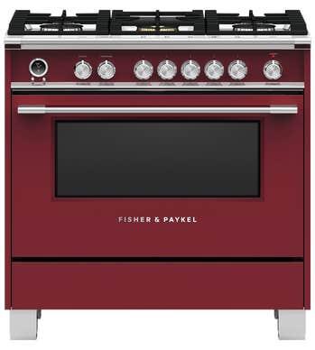 Fisher and Paykel Cuisiniere 36 Rouge OR36SCG6R1 en couleur Rouge présenté par Corbeil Electro Store