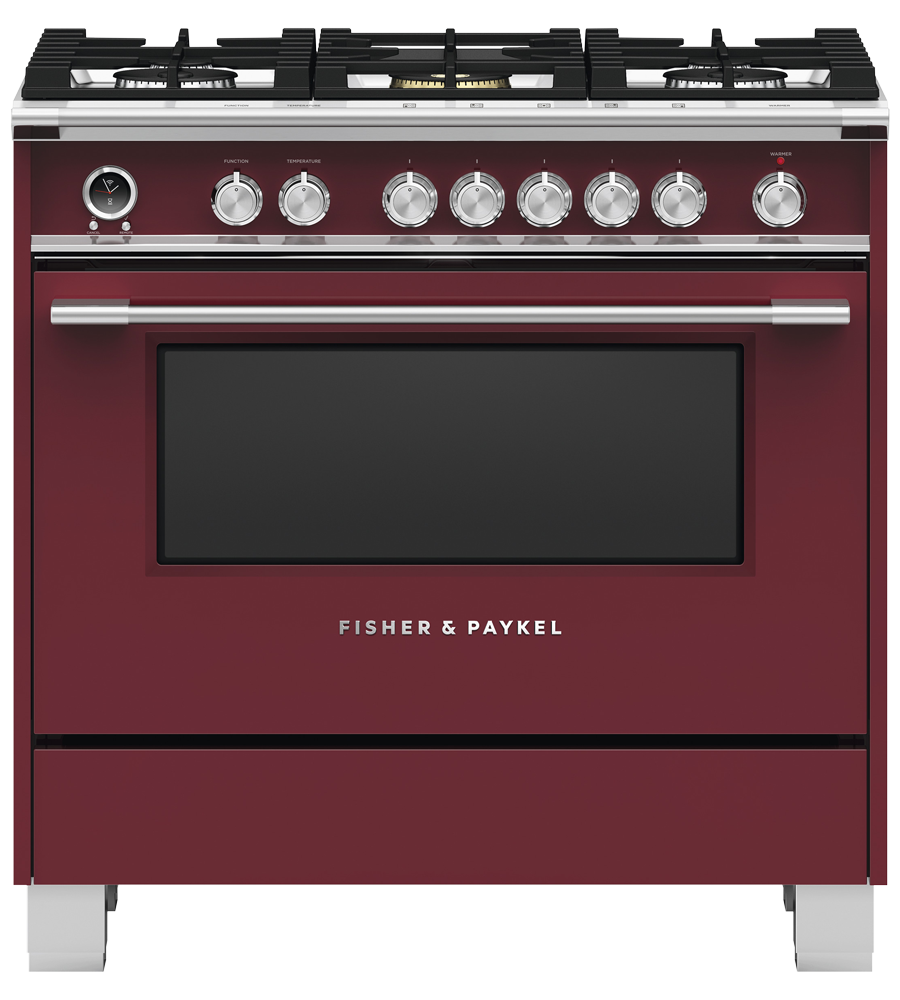 Fisher and Paykel Range 36 Red OR36SCG6R1 in Red color showcased by Corbeil Electro Store