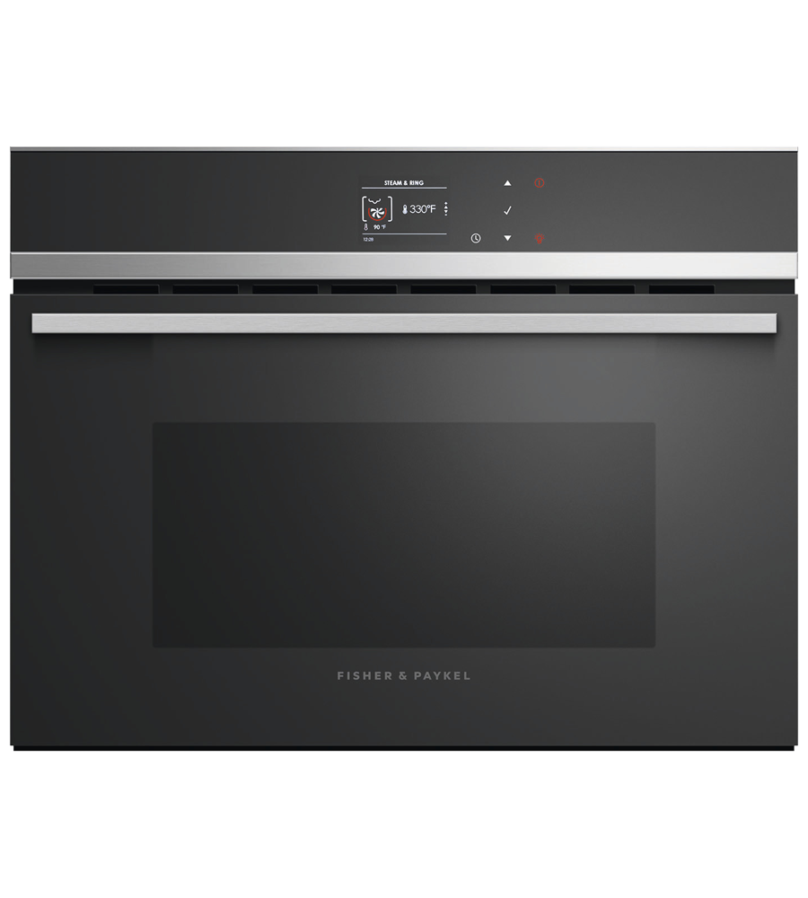 Fisher and Paykel Combination Oven 24 Black OS24NDB1 in Black color showcased by Corbeil Electro Store