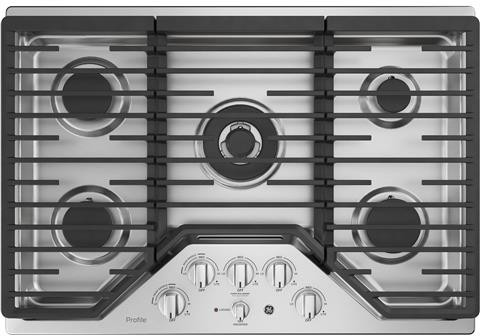 GE Profile Cooktop in Stainless Steel color showcased by Corbeil Electro Store