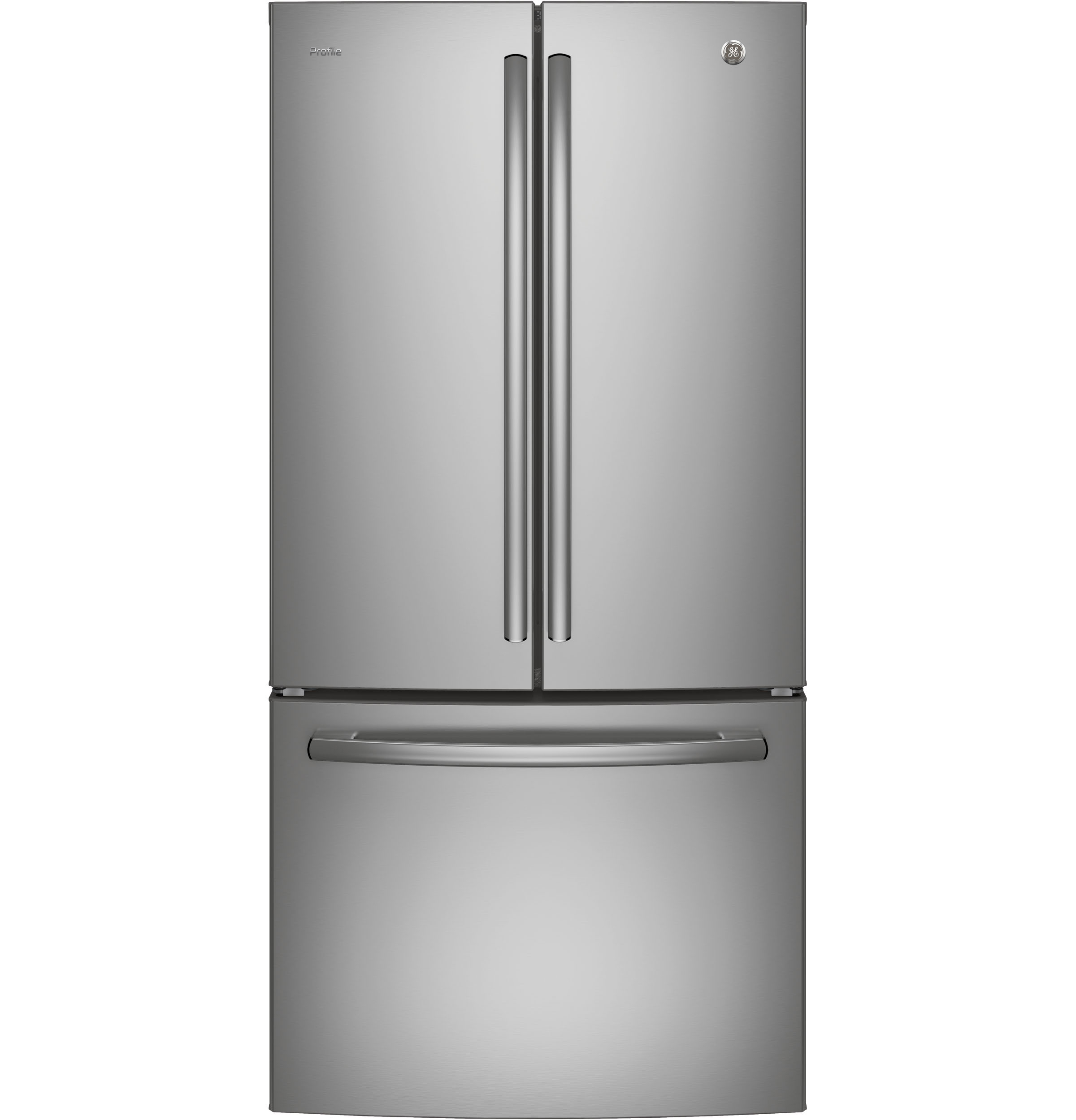 GE Profile Refrigerator 30 PNE25N in Stainless Steel color showcased by Corbeil Electro Store