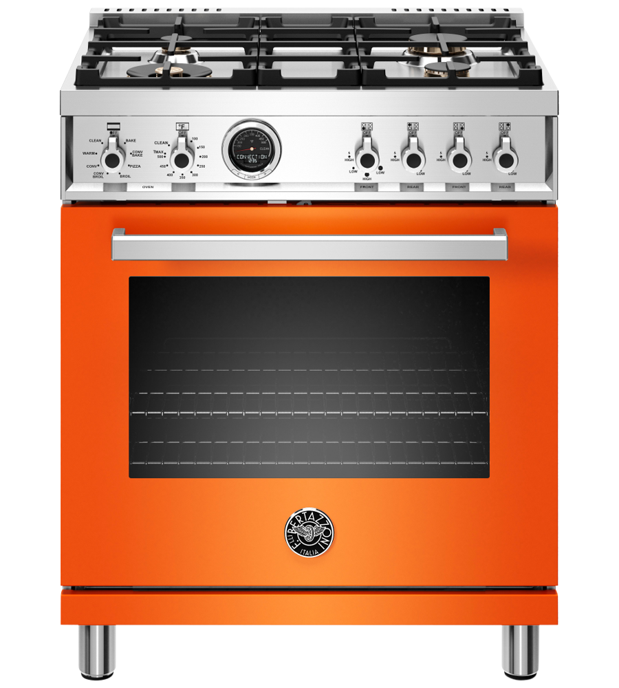 Bertazzoni Range 30inch in Orange color showcased by Corbeil Electro Store
