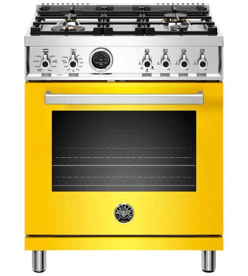 Bertazzoni Range 30inch in Yellow color showcased by Corbeil Electro Store