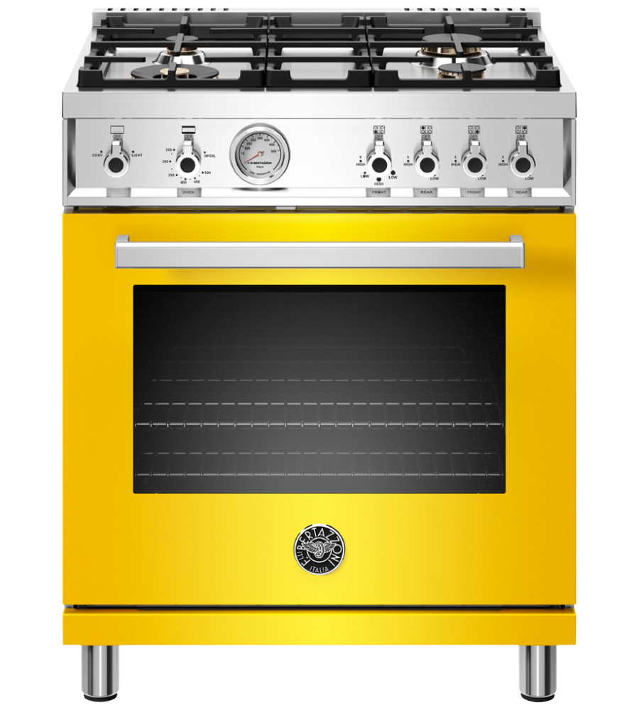 Bertazzoni Range 30inch in Yellow color showcased by Corbeil Electro Store