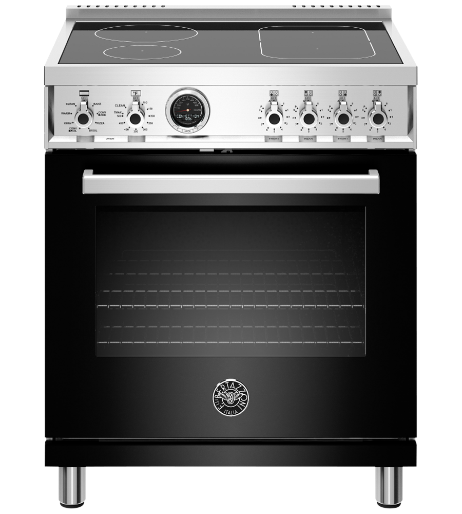 Bertazzoni Range 30inch in Black color showcased by Corbeil Electro Store
