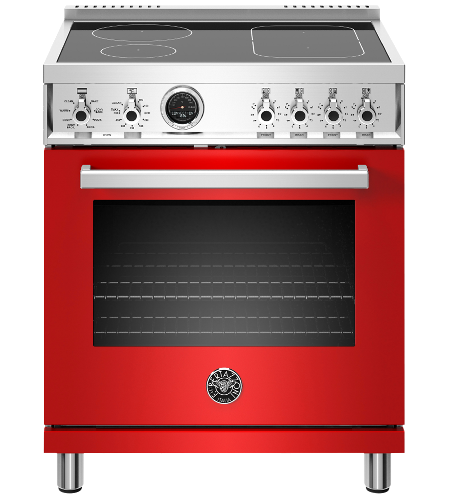 Bertazzoni Range 30inch in Red color showcased by Corbeil Electro Store