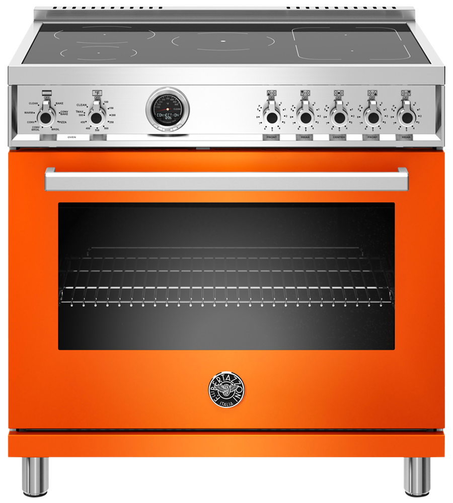 Bertazzoni Range 36inch in Orange color showcased by Corbeil Electro Store