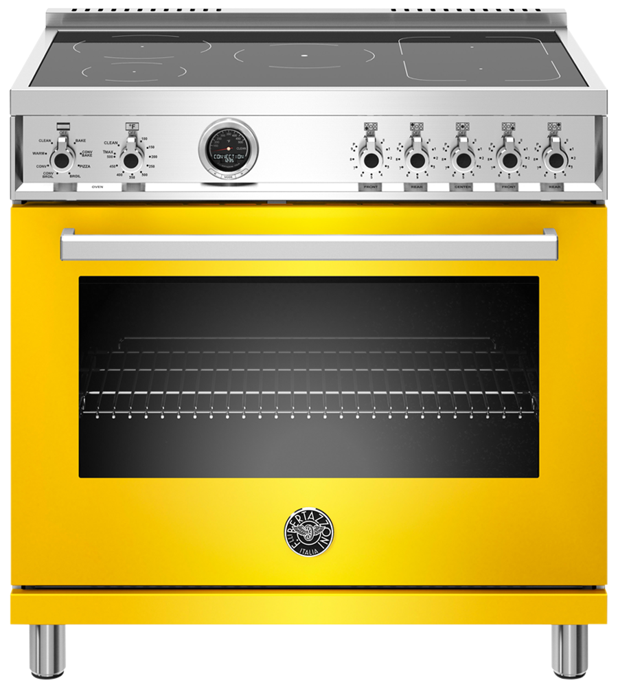 Bertazzoni Range 36inch in Yellow color showcased by Corbeil Electro Store