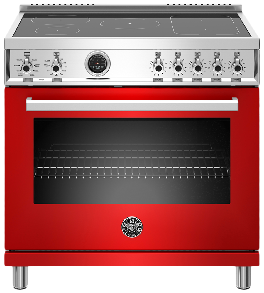 Bertazzoni Range 36inch in Red color showcased by Corbeil Electro Store