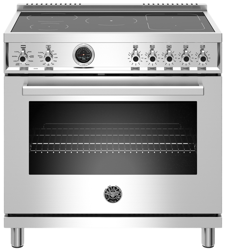 Bertazzoni Range 36inch in Stainless Steel color showcased by Corbeil Electro Store