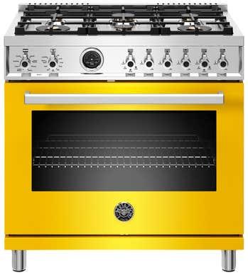 Bertazzoni Cuisinière 36po en couleur Jaune présenté par Corbeil Electro Store