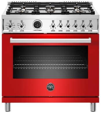 Bertazzoni Cuisinière 36po en couleur Rouge présenté par Corbeil Electro Store