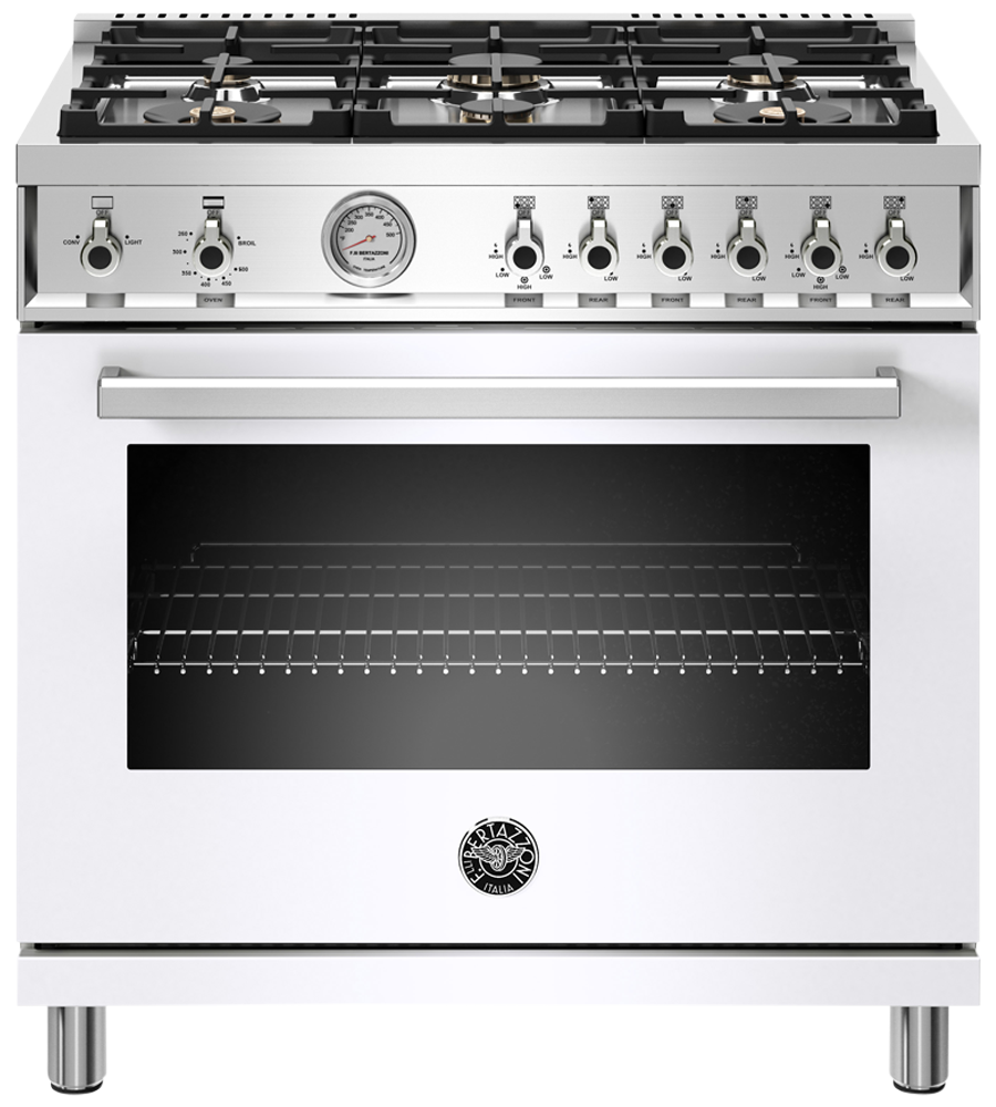 Bertazzoni Range 36inch in White color showcased by Corbeil Electro Store