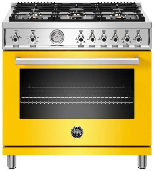 Bertazzoni Range 36inch in Yellow color showcased by Corbeil Electro Store