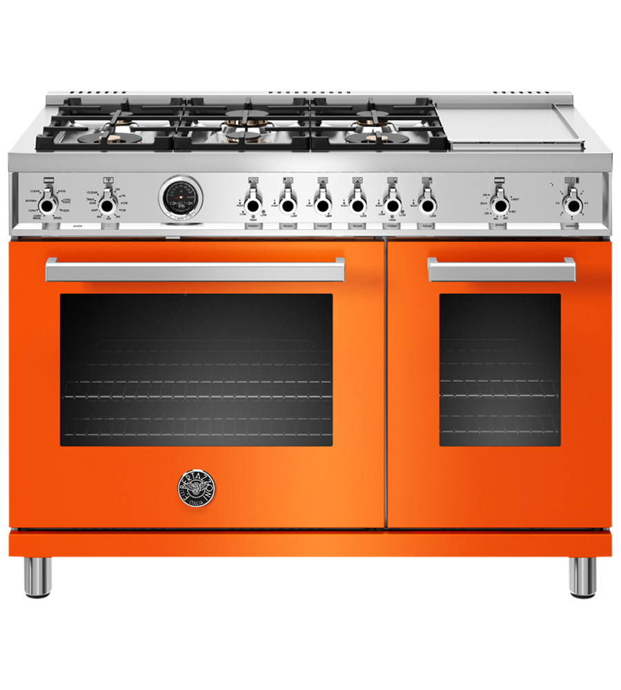 Bertazzoni Range 48inch in Orange color showcased by Corbeil Electro Store
