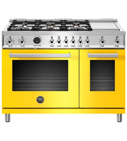 Bertazzoni Range 48inch in Yellow color showcased by Corbeil Electro Store