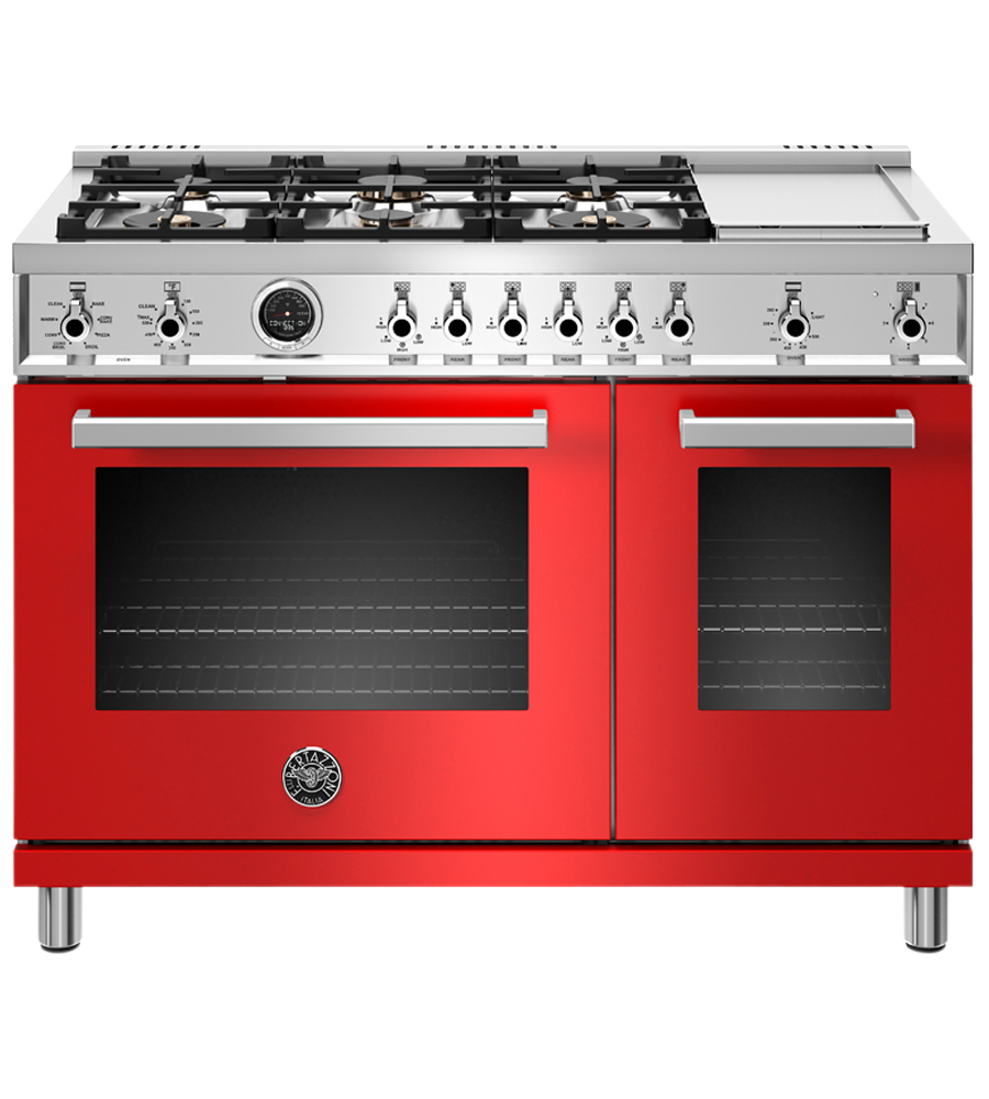 Bertazzoni Range 48inch in Red color showcased by Corbeil Electro Store