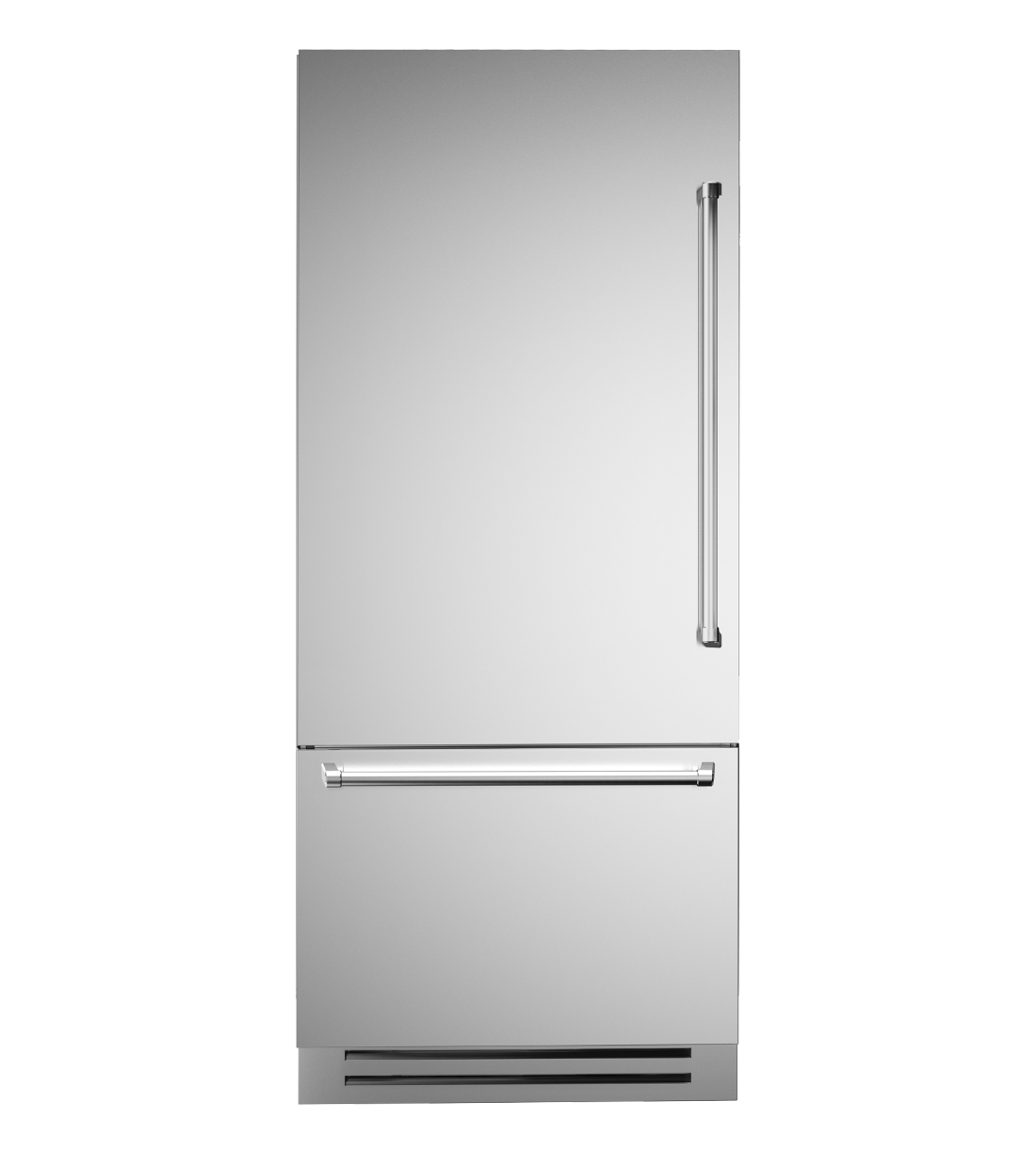 Bertazzoni Fridge 36inch in Stainless Steel color showcased by Corbeil Electro Store