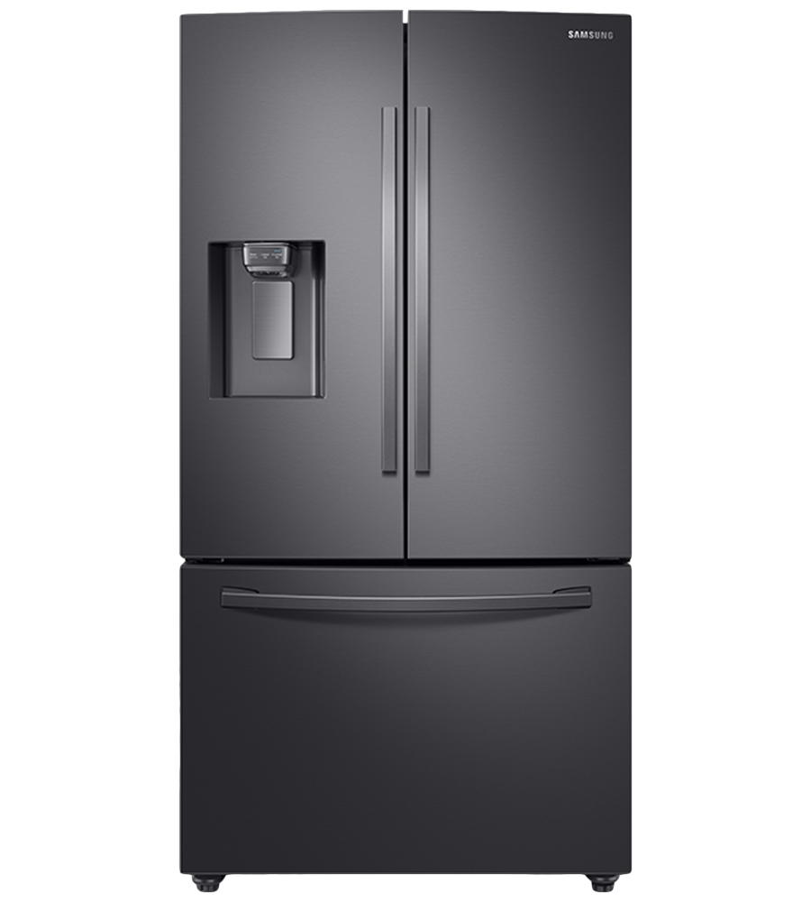 Samsung Refrigerator 36 RF23R6201S in Black Stainless Steel color showcased by Corbeil Electro Store