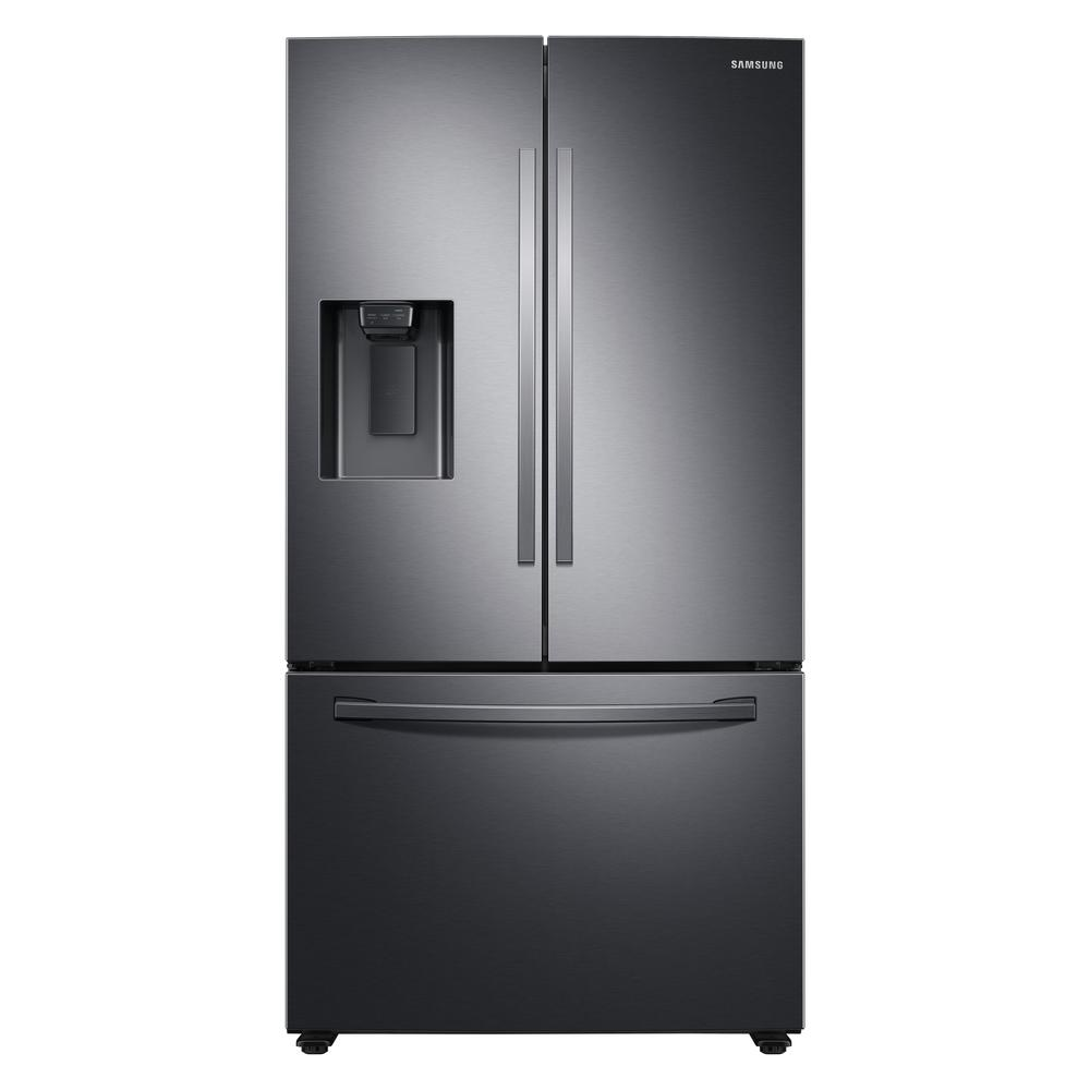 Samsung Fridge RF27T5201SG in Black Stainless Steel color showcased by Corbeil Electro Store