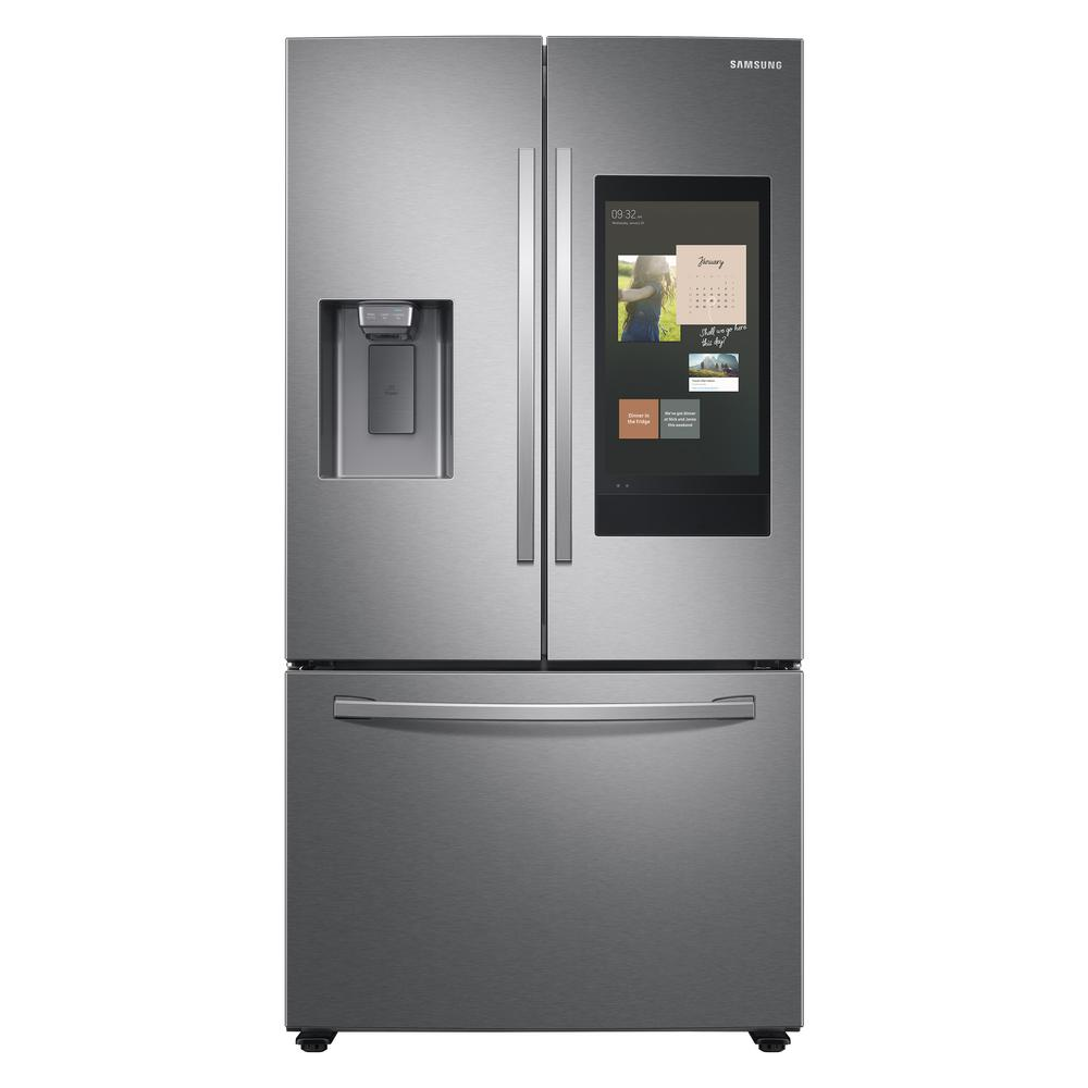 Samsung Fridge RF27T5501SR in Stainless Steel color showcased by Corbeil Electro Store
