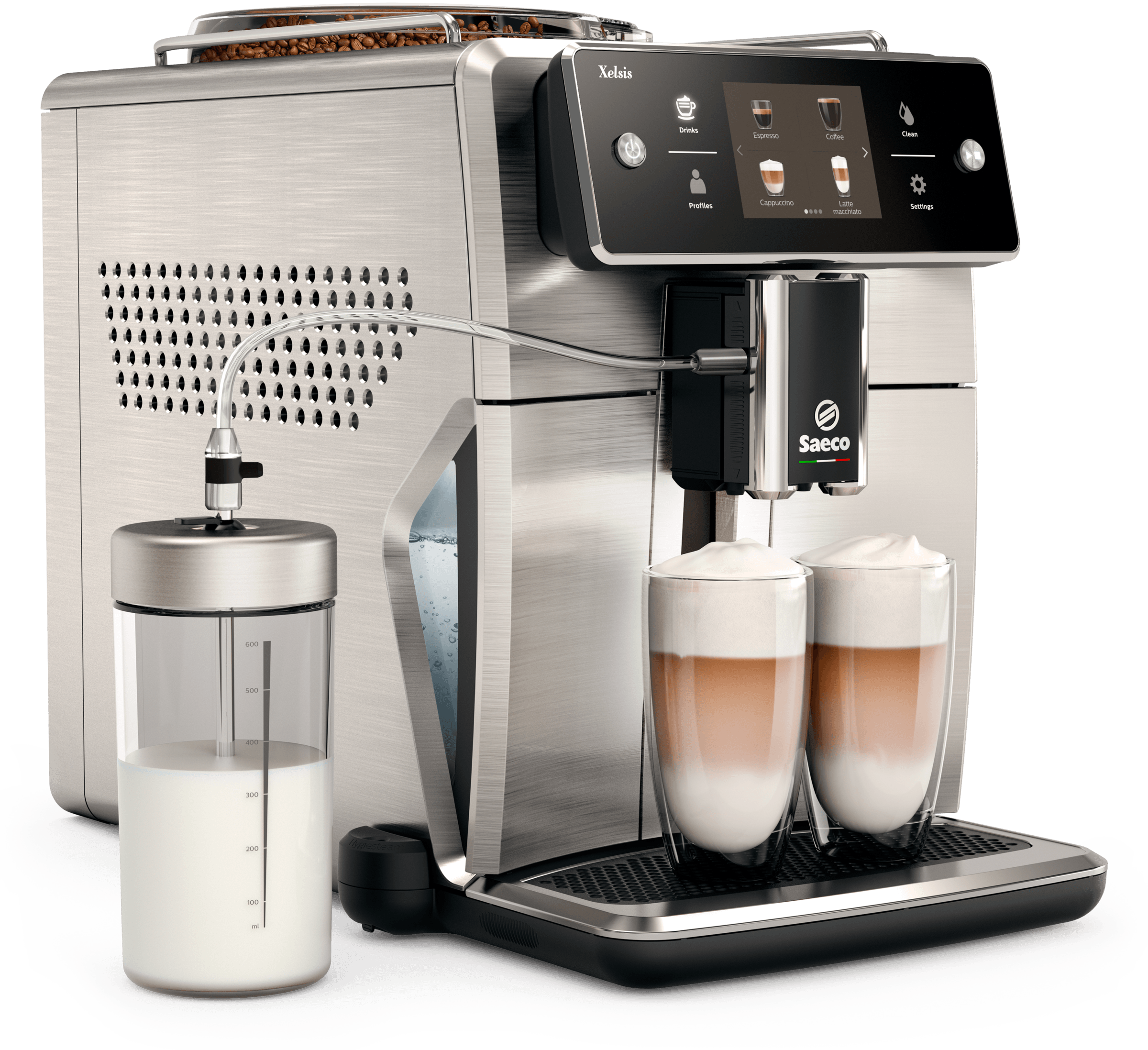 Saeco Cofee machine in Stainless Steel color showcased by Corbeil Electro Store