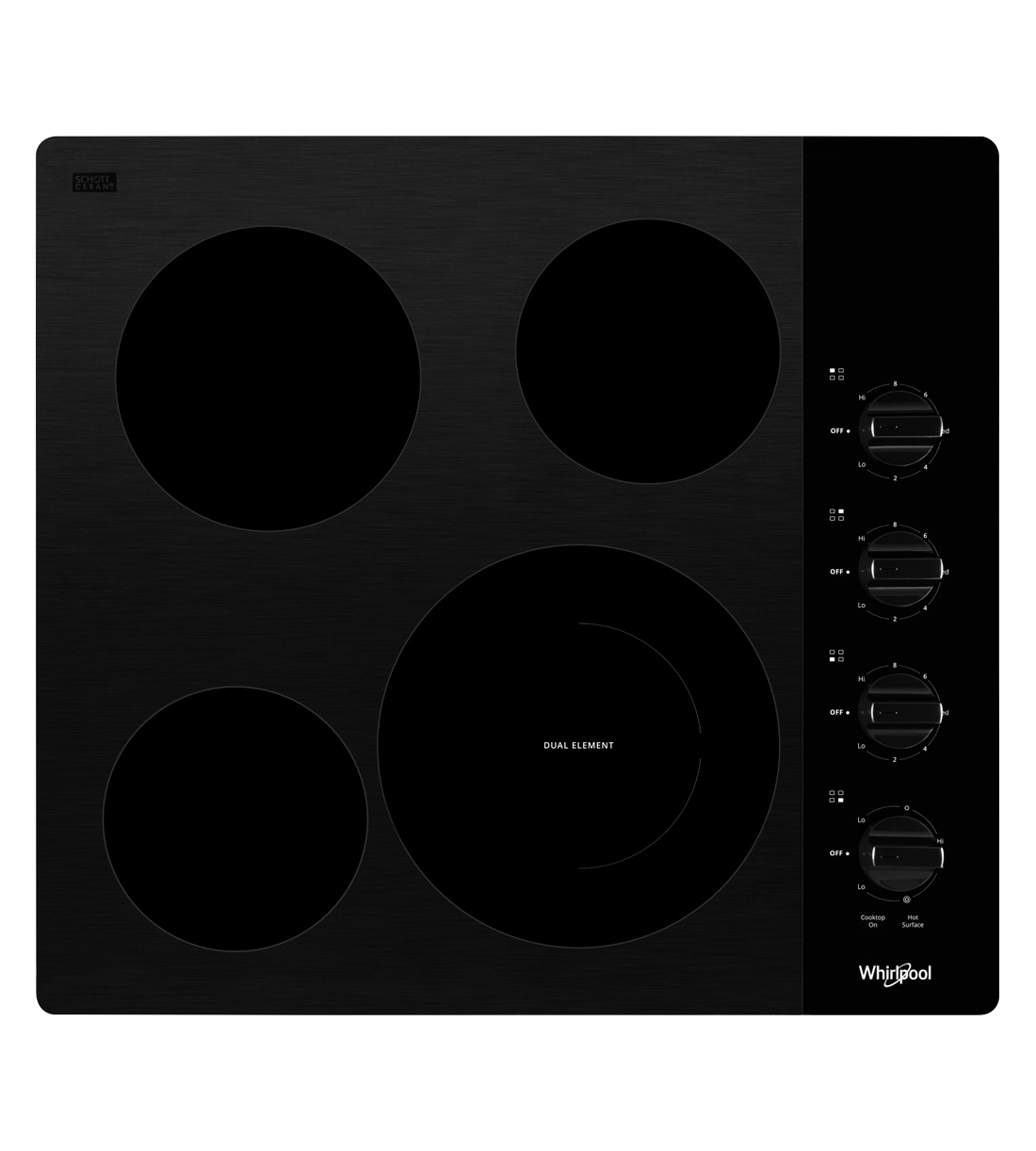 Whirlpool Cooktop in Black color showcased by Corbeil Electro Store