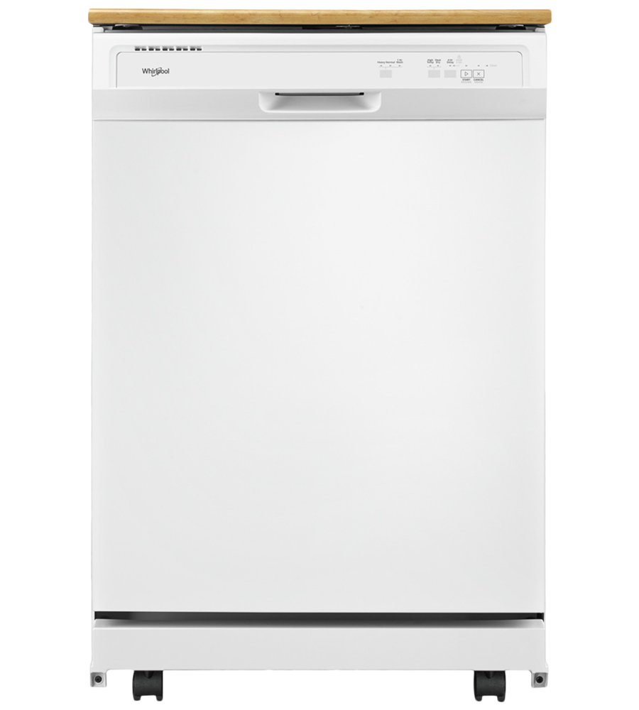 Whirlpool Dishwasher in White color showcased by Corbeil Electro Store