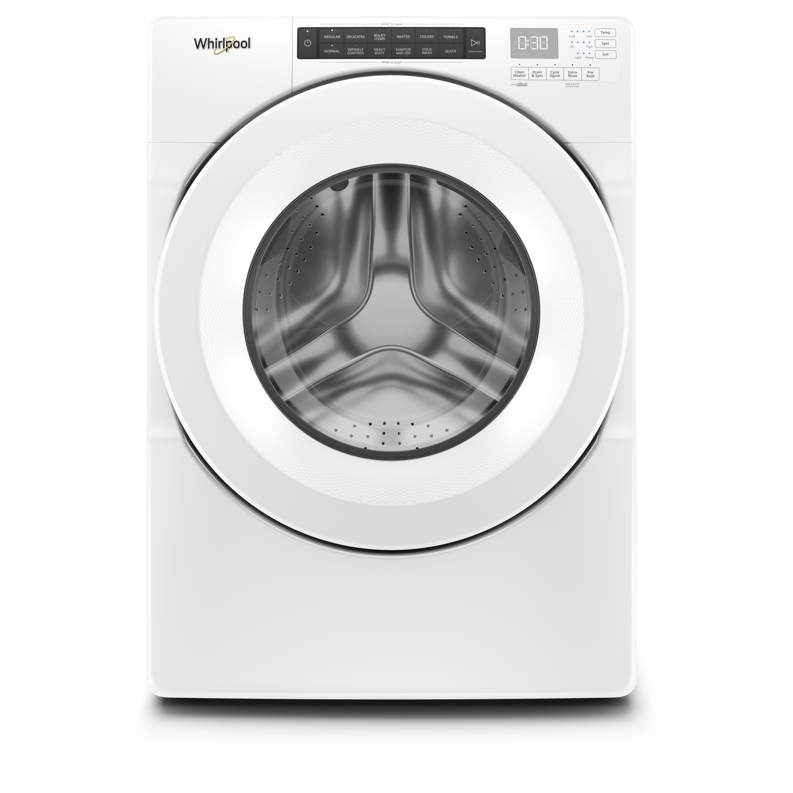 Whirlpool Washer 27 White WFW560CHW in White color showcased by Corbeil Electro Store