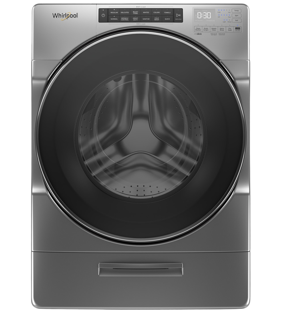 Whirlpool Washer 27 WFW6620H in Metallic Slate color showcased by Corbeil Electro Store