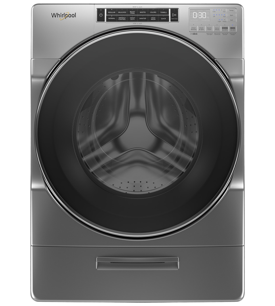 Whirlpool Washer in Chrome Shadow color showcased by Corbeil Electro Store