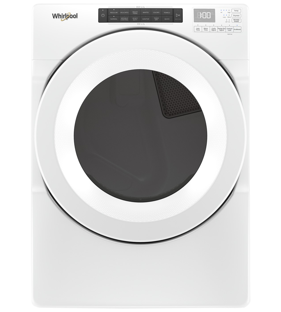 Whirlpool Dryer in White color showcased by Corbeil Electro Store