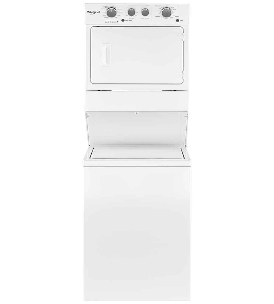 Whirlpool Stacked laundry in White color showcased by Corbeil Electro Store