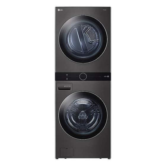 LG Centre de buanderie WKEX200HBA en couleur Acier Inoxydable Noir présenté par Corbeil Electro Store