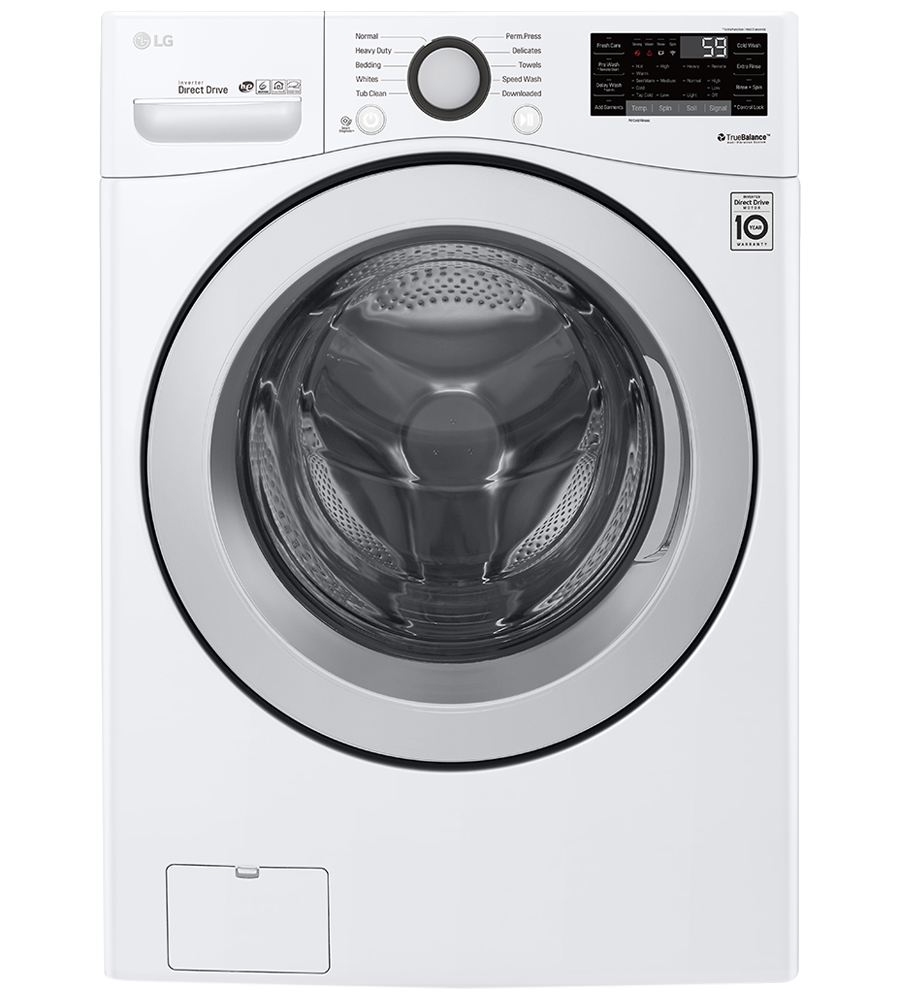 LG Washer 27 White WM3500CW in White color showcased by Corbeil Electro Store